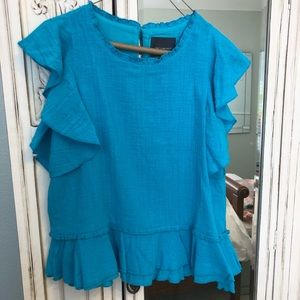 Turquoise Top w/Ruffles